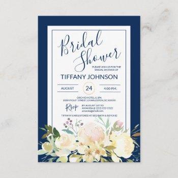 watercolor floral navy blue bridal shower invitation