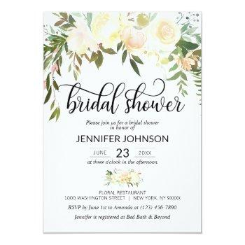 Watercolor Floral Pink Cream Ivory Bridal Shower Invitation Front View