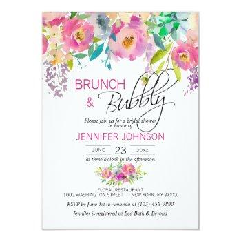 watercolor floral pink purple bridal brunch invitation