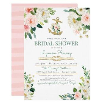 watercolor floral roses nautical bridal shower invitation