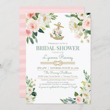 watercolor floral roses nautical bridal shower invitation