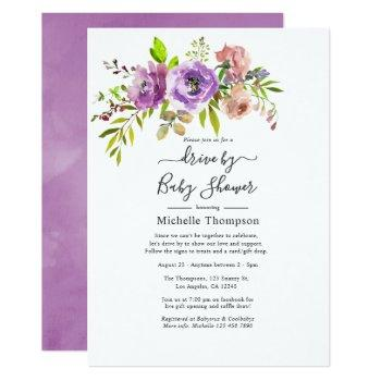 watercolor floral spring drive by shower invitation