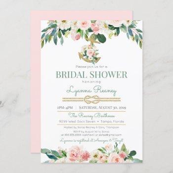 watercolor flowers blush nautical bridal shower invitation