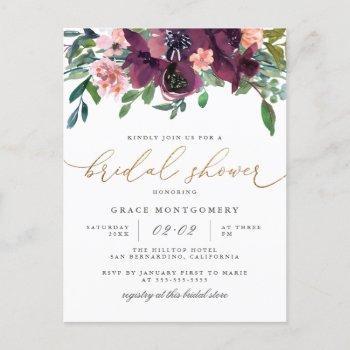 watercolor flowers & gold glitter bridal shower invitation postcard