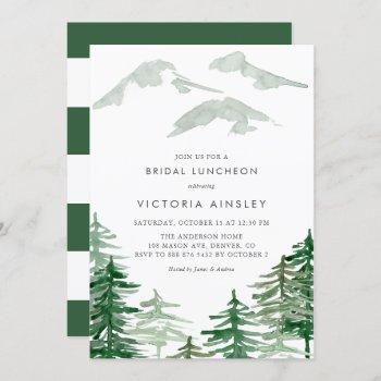 watercolor forest winter woodland bridal luncheon invitation