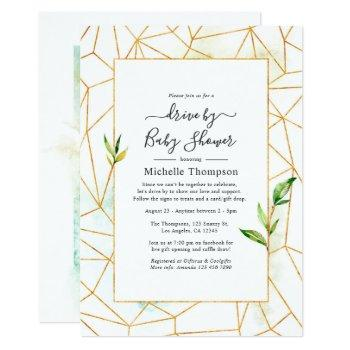 watercolor geometric crystal drive by shower invitation