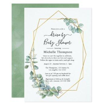 watercolor geometric eucalyptus drive by shower invitation