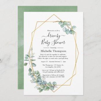watercolor geometric eucalyptus drive by shower invitation