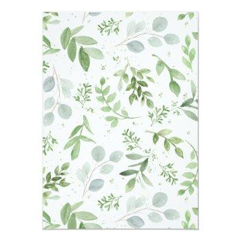 Watercolor Greenery And Flowers Bridal Shower Invitation Front View
