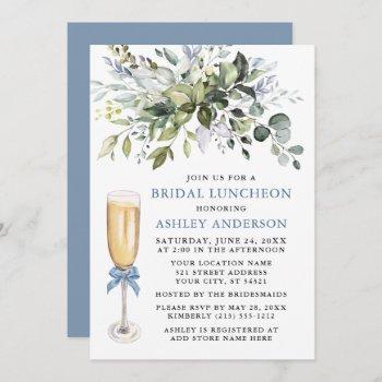 watercolor greenery bridal luncheon dusty blue  invitation
