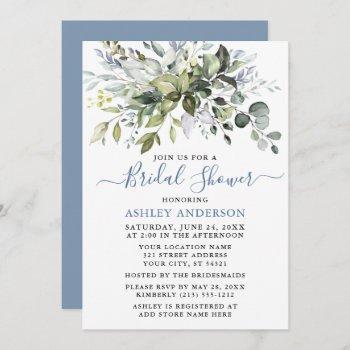 watercolor greenery bridal shower dusty blue  invitation