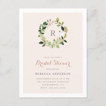watercolor greenery wreath blush bridal shower invitation postcard