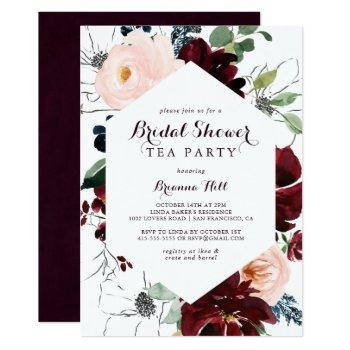 watercolor illustrated bridal shower tea party invitation