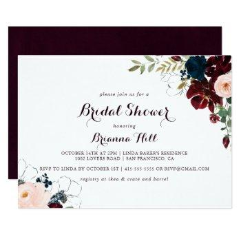 watercolor illustrated horizontal bridal shower invitation