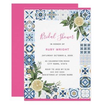 watercolor lemon spanish pink blue bridal shower invitation