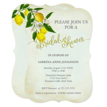 watercolor lemons & leaves bridal shower invitation