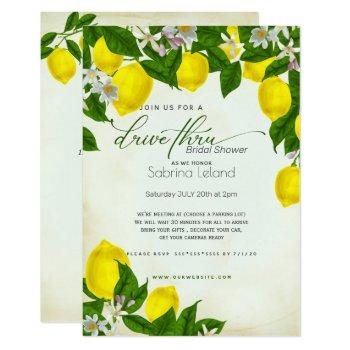 watercolor lemons & leaves drivethru bridal shower invitation