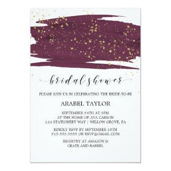watercolor marsala and gold sparkle bridal shower invitation