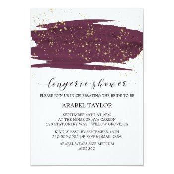 watercolor marsala & gold sparkle lingerie shower invitation