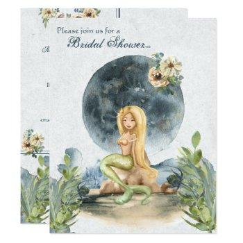 watercolor mermaid and full moon bridal shower invitation
