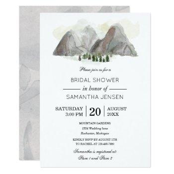 watercolor mountain bridal shower invitation