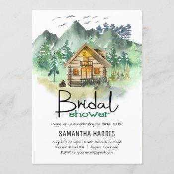 watercolor mountain bridal shower invitation