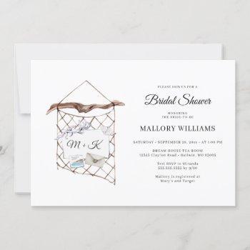 watercolor nautical net bridal shower invitation