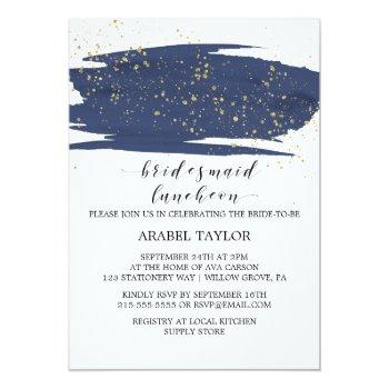 watercolor navy and gold bridesmaid luncheon invitation