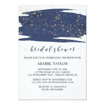 watercolor navy and gold sparkle bridal shower invitation