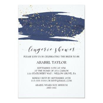watercolor navy and gold sparkle lingerie shower invitation