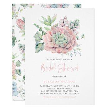 watercolor pastel succulents bridal shower invitation