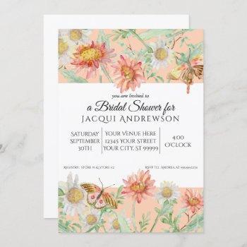 watercolor peach coral white floral bridal shower invitation