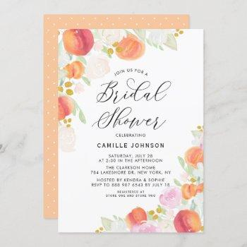 watercolor peaches and flowers bridal shower invitation