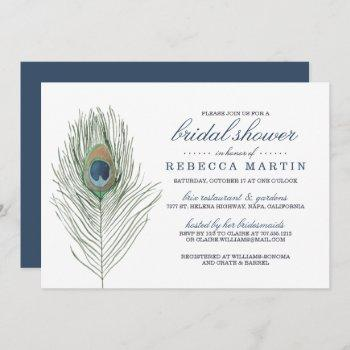 watercolor peacock feather bridal shower invitation