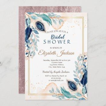 watercolor peacock floral bridal shower invitation