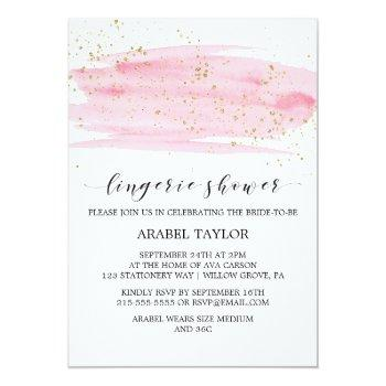 watercolor pink blush and gold lingerie shower invitation