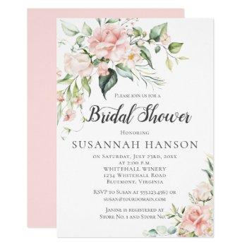 watercolor pink roses eucalyptus bridal shower invitation