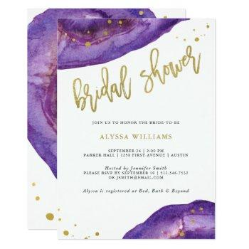watercolor purple and gold geode bridal shower invitation
