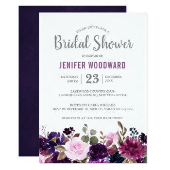 watercolor purple plum floral boho bridal shower invitation