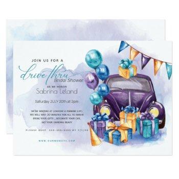 watercolor purple teal  drivethru bridal shower invitation