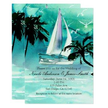 watercolor sailboat & palm trees sea invitations