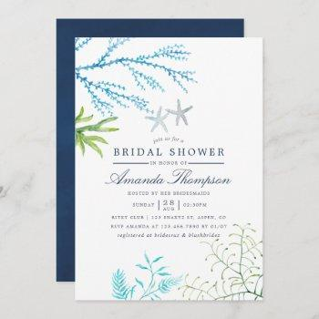 watercolor seaweed beach themed bridal shower invitation