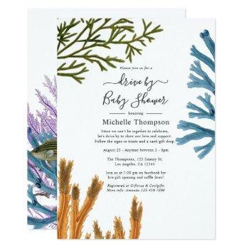 watercolor seaweed drive by bridal or baby shower invitation