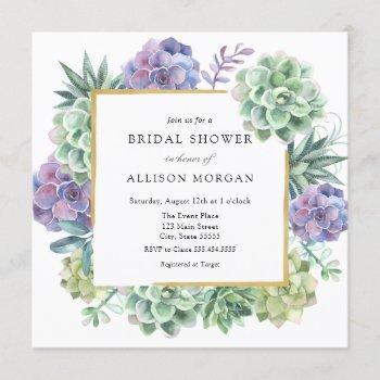 watercolor succulents bridal shower invitation
