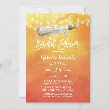 watercolor sunset beach love message bridal shower invitation