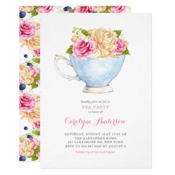 watercolor teacup bouquet flowers tea party invitation