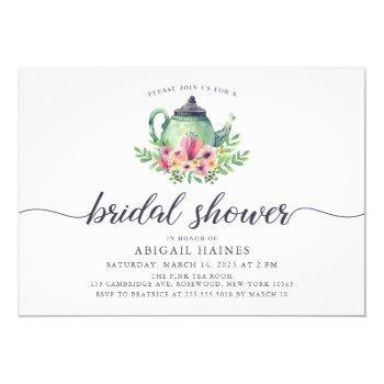watercolor teapot bridal shower invitation