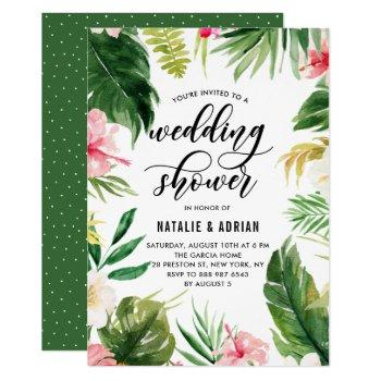watercolor tropical floral frame wedding shower invitation