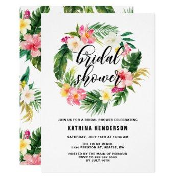 watercolor tropical flowers wreath bridal shower invitation
