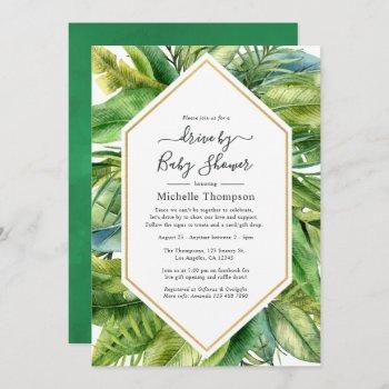 watercolor tropical summer drive by shower invitation